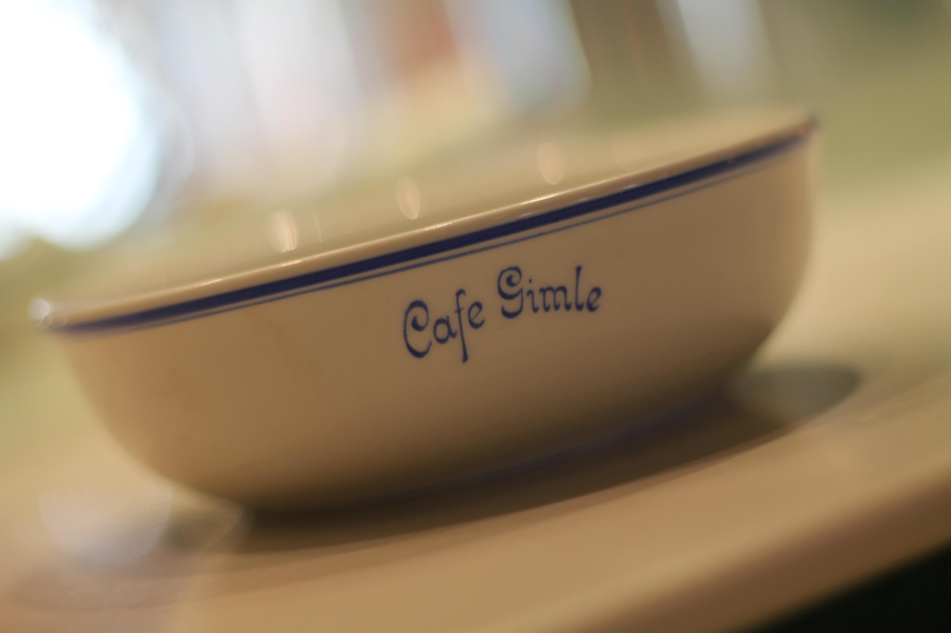 Café Gimle skål - Dette er en av de få skålene som er bevart fra Gamle Café Gimle. Denne skålen er minst 35 år gammel.