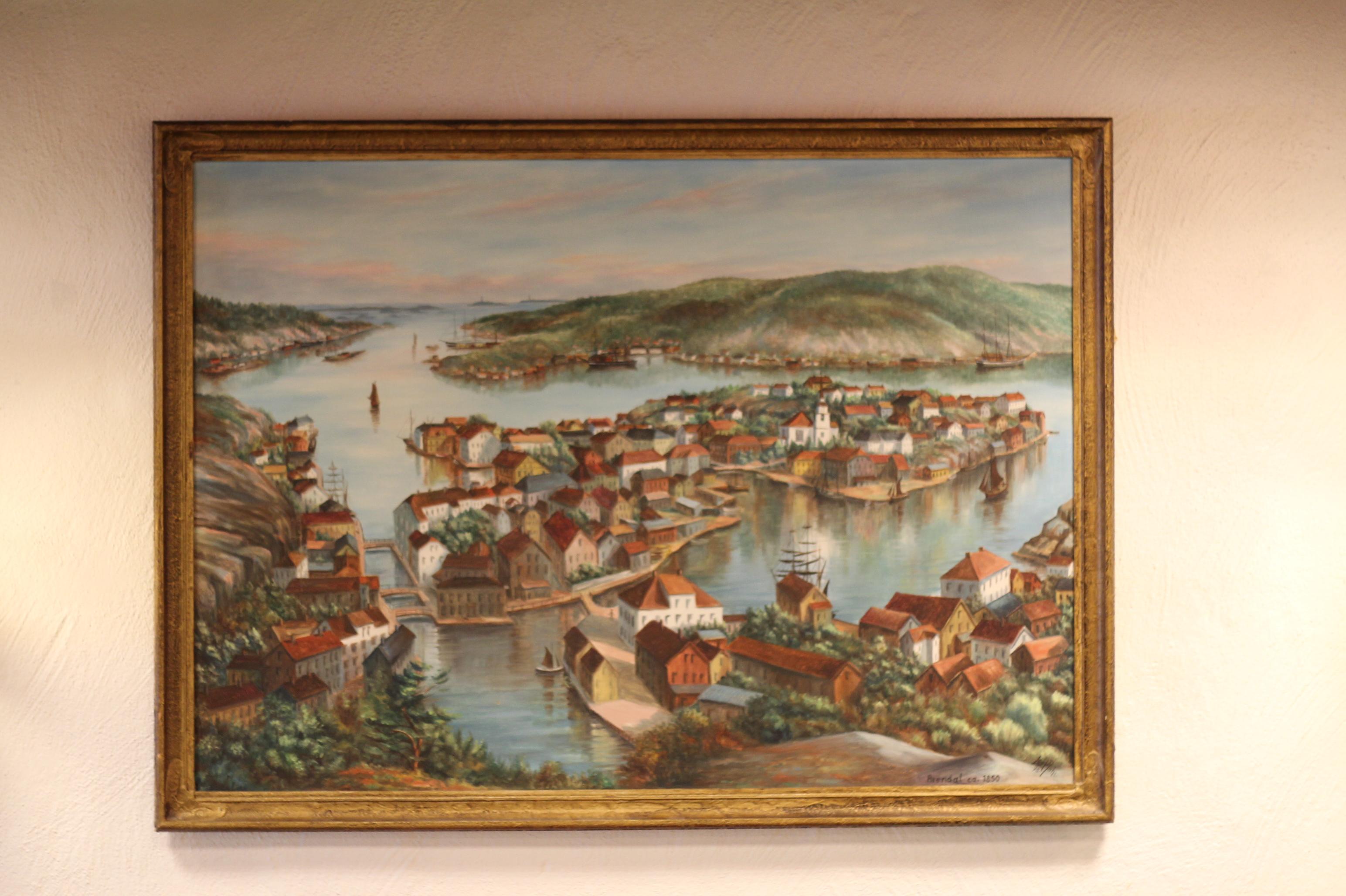 Maleri fra Gamle Café Gimle - Dette maleriet var i Gamle Café Gimles lokaler da Ting Hai overtok i 1977. Det er datert 1975 og avbilder Arendal på 1800-tallet. Dette kan sees den dag i dag i Ting Hais lokale.